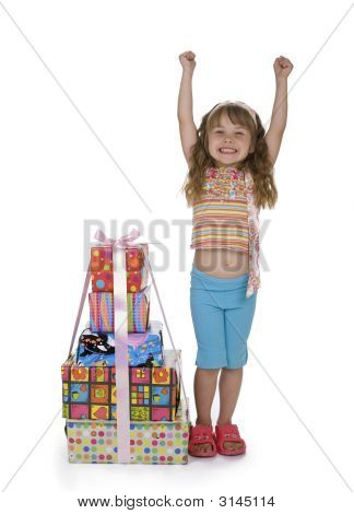 Exciting Girl With Stack Of Presents