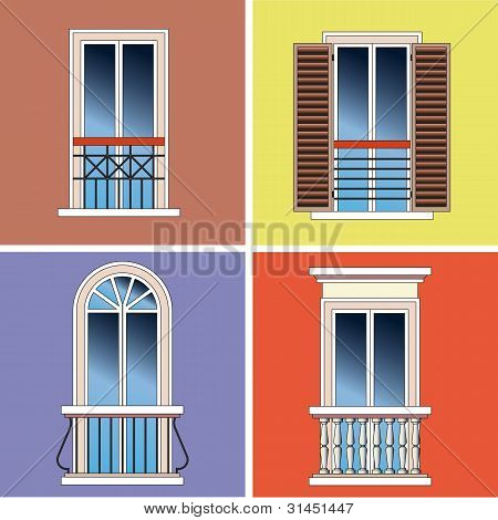 Four Classical Types Of French Balconies Over Stucco Background