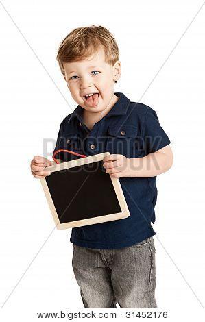 Boy Holding Chalk Board