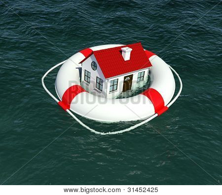 Home and lifebuoy in water