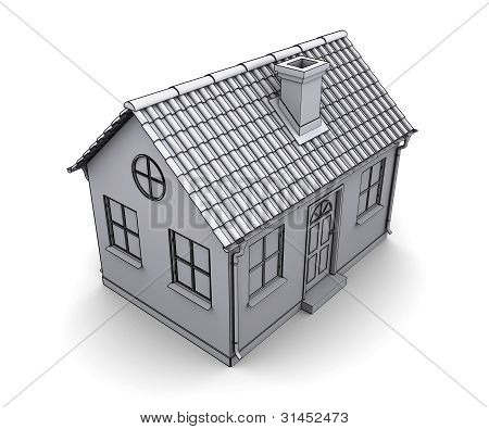 Frame house 3d model of a white