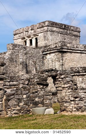 Mayan Building At Tulum Mexico