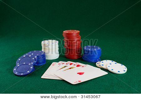 Royal Flush and Poker Chips