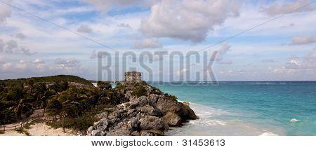 Panoramic View Of Mayan Ruins Above The Ocean