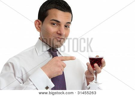 Man Showing Or Presenting Wine