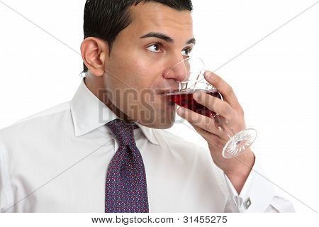 Man Drinking Or Wine Tasting