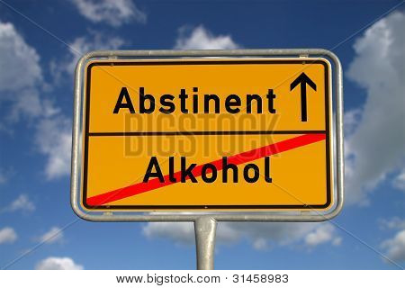 German Road Sign Abstinent Alcohol
