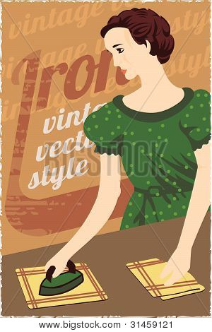 Vintag advertising poster. Lady with iron