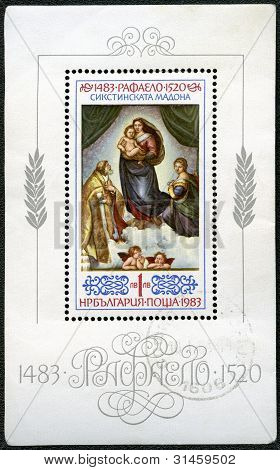 "Bulgaria - Circa 1983: Shows A Reproduction Of Raphael's Painting ""sistine Madonna"""