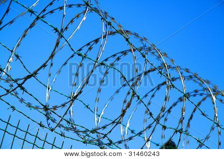 Barbed Wire Against Blue Sky