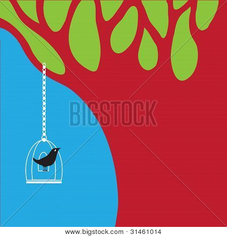 Vector bird and tree