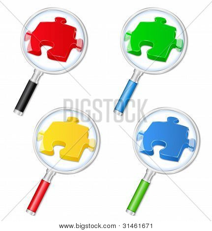 Magnifying glasses with puzzle pieces