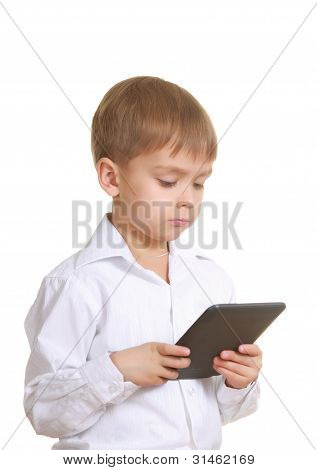 Reading Boy With Electronic Book. Isolated