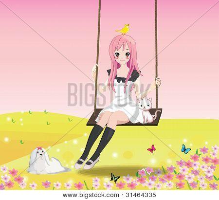 Linda chica en el columpio (Rosa BG)