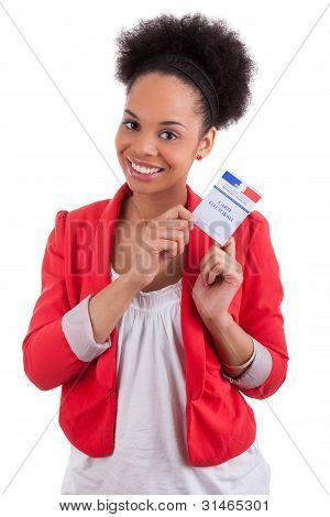 Young Woman Holding An French Electoral Card