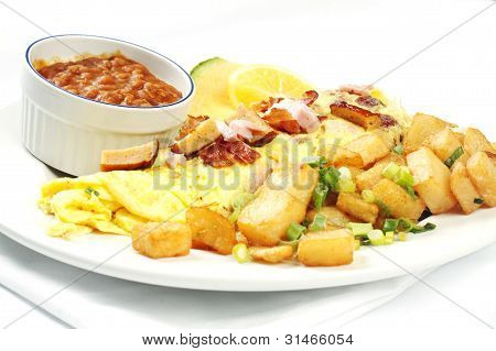 Meatlover Omelet With Beans