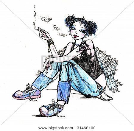 Cigarro para fumar de hippie do anjo menina - ilustração de mão desenhada