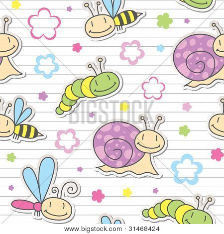 pattern with insects and snails