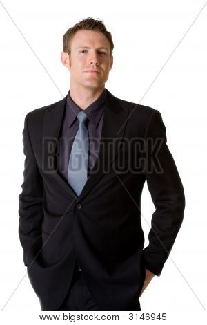 Caucasian Man Smilling Wears Formal Business Attire