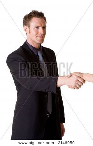 Caucasian Man In Business Suit Making A Hand Shake