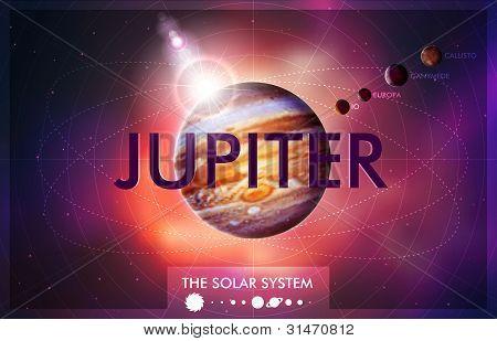Vector Sistema Solar - planeta Júpiter