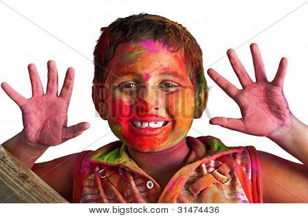 Close Up Face Of Young Boy Playing Holi, Smiling With Colors On, Happy child