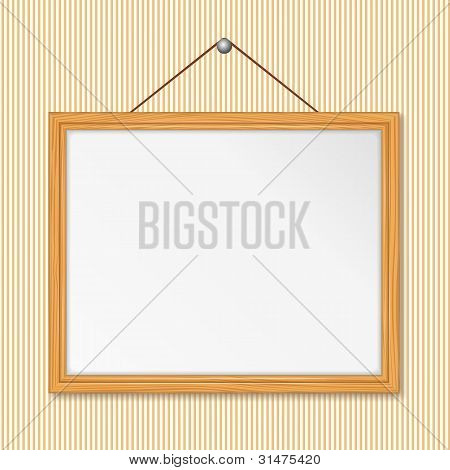 Wooden frame on the wall