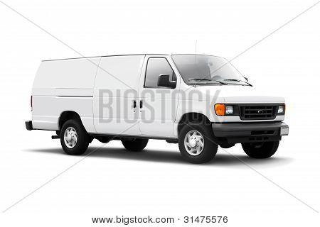 Weißer Lieferwagen auf weiß mit Schlagschatten
