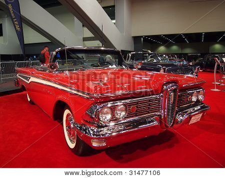 Red Classic Muscle Car On Display