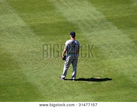 Red Sox Outfielder Jd Drew Stands In The Outfield