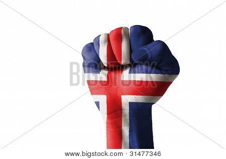 Faust lackiert in den Farben der Flagge Island