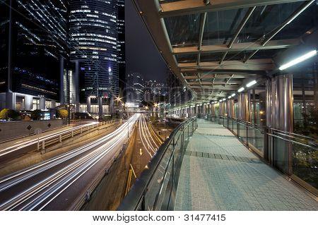 Ponte pedonal da área financeira em Hong Kong