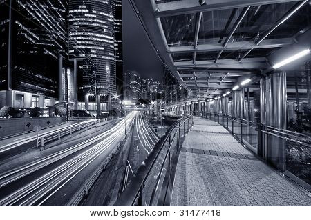 Foot Bridge of financial District in Hong Kong