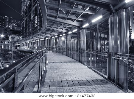Foot Bridge of financial District in Hong Kong