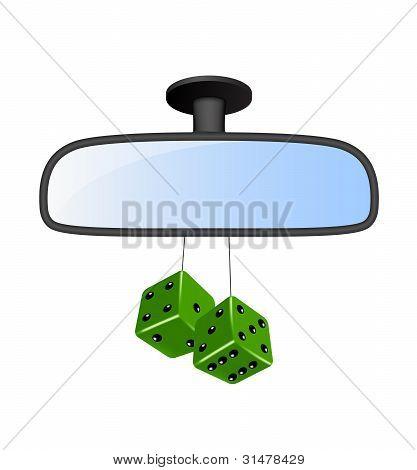 Espejo de coche con par de dados verdes