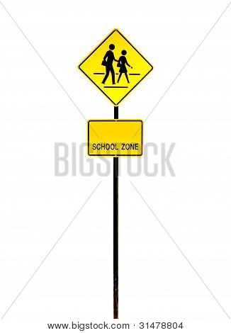 school zone warning sign