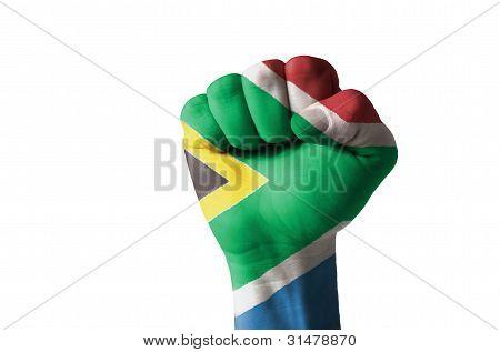 Faust lackiert in den Farben der Flagge Südafrika
