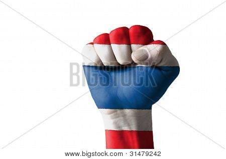 Fist Painted In Colors Of Thailand Flag