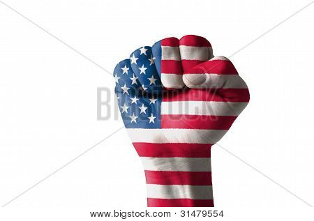 Fist Painted In Colors Of Usa Flag