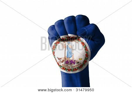 Fist Painted In Colors Of Us State Of Virginia Flag