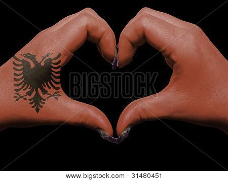 Heart And Love Gesture By Hands Colored In Albania Flag For Tourism