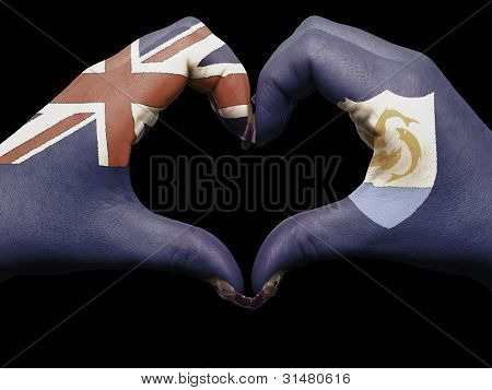 Heart And Love Gesture By Hands Colored In Anguilla Flag For Tourism