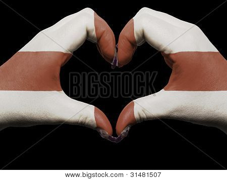 Heart And Love Gesture By Hands Colored In England Flag For Tourism