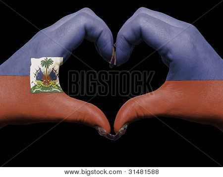 Heart And Love Gesture By Hands Colored In Haiti Flag For Tourism