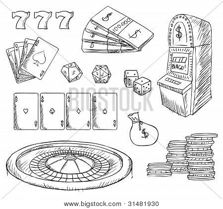 Casino Gambling Symbols Vector