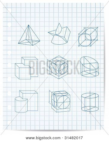 Scheme Of Geometrical Objects On Copybook Paper Vector
