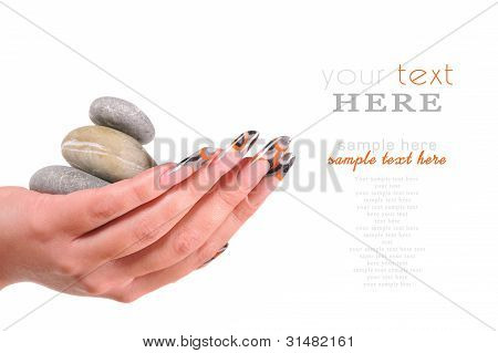 Beautiful Female Hands With Pebble  Manicure Concept
