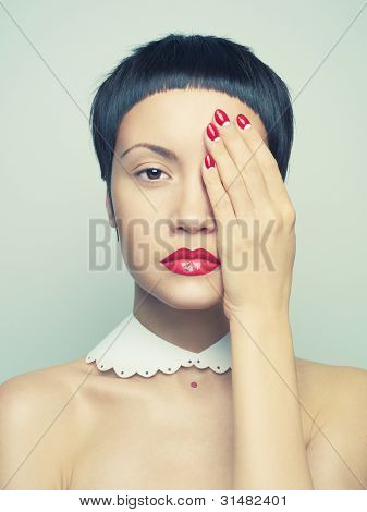 Lady With Bright Nail Polish