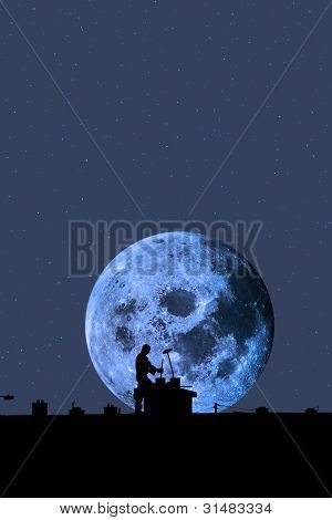 Chimney Sweep Silhouette On The Rooftop Against Full Moon