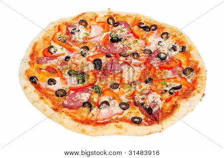 tasty pizza with olives, pepperoni, ham and pepper